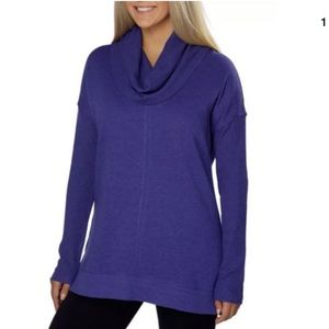 Marc New York Women's Fleece Cowl Neck Purple M